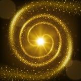 Fundo espiral dourado da fuga da partícula Foto de Stock