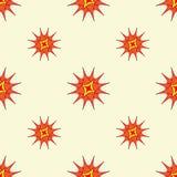 Fundo estilizado das estrelas do sumário Repetindo o teste padrão geométrico em cores mornas brilhantes Fotos de Stock
