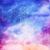 Fundo estrelado colorido da nebulosa da galáxia do espaço da aquarela ilustração do vetor