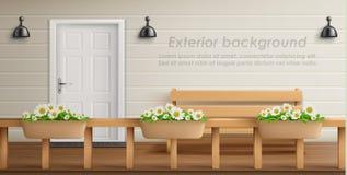 Fundo exterior do vetor com fachada da varanda ilustração do vetor