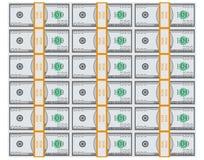 Fundo falsificado da opinião superior da pilha do pacote do dólar Fotografia de Stock
