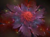 Fundo fantástico bonito da flor do Fractal que brilha ilustração royalty free
