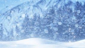 Fundo feericamente do Natal do sumário da queda de neve Foto de Stock