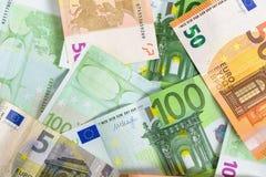 Fundo feito de euro- cédulas fotografia de stock royalty free