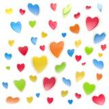 Fundo feito dos corações coloridos isolados Fotografia de Stock