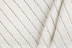 Fundo feito malha de lã branco da textura da tela imagem de stock