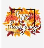 Fundo feliz da celebração da ação de graças Abóbora, folhas, Rowan Berries, bolotas Imagens de Stock Royalty Free