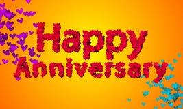 Fundo feliz da laranja da forma 3D do coração do aniversário Imagens de Stock Royalty Free