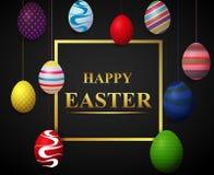 Fundo feliz da rotulação da Páscoa com os ovos decorados coloridos ilustração do vetor