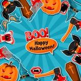 Fundo feliz de Dia das Bruxas com símbolos da etiqueta do feriado dos desenhos animados Convite party ou cartão Imagens de Stock Royalty Free