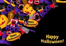 Fundo feliz de Dia das Bruxas com símbolos do feriado dos desenhos animados Convite party ou cartão Fotos de Stock Royalty Free