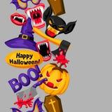 Fundo feliz de Dia das Bruxas com símbolos do feriado dos desenhos animados Convite party ou cartão Fotografia de Stock