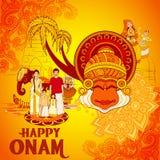 Fundo feliz de Onam no estilo indiano da arte Imagem de Stock
