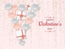 Fundo feliz de Valentine Day com corações brilhantes e lustrosos Brilho cor-de-rosa pastel e confetes Cartão e amor ilustração do vetor