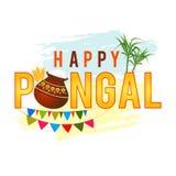 Fundo feliz do cumprimento de Pongal com arroz pongal em um potenciômetro da lama, em uma grão do trigo e em um bambu tradicionai Fotos de Stock Royalty Free