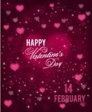 Fundo feliz do cumprimento do dia de Valentim com corações e sparkels Vetor Fotos de Stock