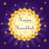 Fundo feliz do cumprimento do feriado de Israel do Hanukkah ilustração royalty free