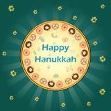 Fundo feliz do cumprimento do feriado de Israel do Hanukkah ilustração do vetor