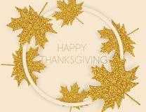 Fundo feliz do dia da ação de graças com folhas de outono ilustração do vetor