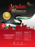 Fundo feliz do Dia da Independência de Jordânia com a cidade de ondulação da bandeira e da silhueta de Jordão com direitos d ilustração royalty free