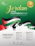 Fundo feliz do Dia da Independência de Jordânia com a cidade de ondulação da bandeira e da silhueta de Jordão com direitos d ilustração stock