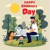 Fundo feliz do dia das crian?as Ilustra??o do vetor do cartaz universal do dia das crian?as ano novo feliz 2007 liso Frame redond ilustração stock