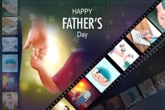 Fundo feliz do dia de pai que mostra a ligação e o relacionamento entre a criança e o pai ilustração stock