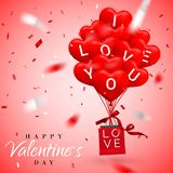 Fundo feliz do dia de Valentim, balão vermelho no formulário do coração com curva e fita e saco de compras do papel Ilustração do ilustração stock
