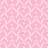 Fundo feliz do dia de Valentim Teste padrão sem emenda cor-de-rosa do coração do vetor Imagens de Stock Royalty Free
