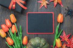 Fundo feliz do feriado de Dia das Bruxas da vista superior com decoração Fotos de Stock Royalty Free