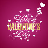 Fundo feliz do rosa do fogo de artifício dos corações do dia de Valentim ilustração do vetor