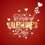 Fundo feliz do vermelho do fogo de artifício dos corações do dia de Valentim ilustração do vetor