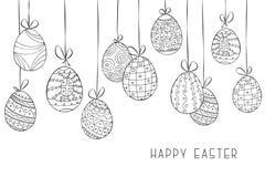 Fundo feliz do vetor de easter com os ovos decorativos de suspensão tirados mão Cartão do feriado, folheto, bandeira, tampa Imagens de Stock