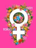 Fundo feliz dos cumprimentos do dia das mulheres s ilustração royalty free