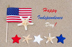 Fundo feliz dos EUA do Dia da Independência com bandeira americana, estrelas Fotos de Stock
