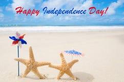 Fundo feliz dos EUA do Dia da Independência com estrelas do mar Foto de Stock Royalty Free