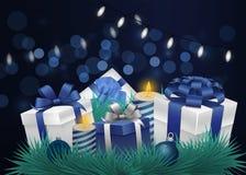 Fundo festivo com efeito e lanternas elétricas do bokeh Fundo do ano novo ou do Natal ilustração stock