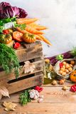 Fundo festivo decorativo da ação de graças do outono da queda com vegetais Imagem de Stock