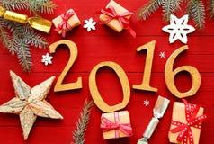 Fundo festivo do ano novo do vermelho 2016 Fotografia de Stock Royalty Free