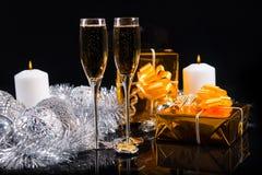 Fundo festivo do champanhe para o Natal Imagens de Stock