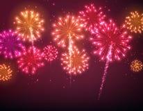 Fundo festivo do fogo de artifício da cor Fotos de Stock Royalty Free