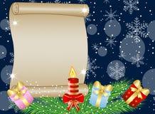 Fundo festivo do Natal com ramos e a serpentina verdes Imagens de Stock