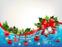 Fundo festivo do Natal com sinos de prata Fotografia de Stock Royalty Free