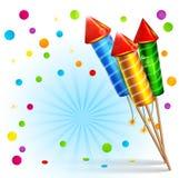 Fundo festivo do vetor com foguetes e confetes Imagem de Stock Royalty Free