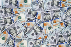 Fundo financeiro de notas de dólar do americano 100 Foto de Stock Royalty Free