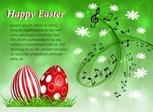 Fundo floral abstrato com os ovos da páscoa vermelhos com pessoal e clave de sol musicais ilustração stock