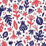 Fundo floral abstrato sem emenda Teste padrão botânico do vetor Elementos florais de papel Entalhe floral Imagem de Stock Royalty Free