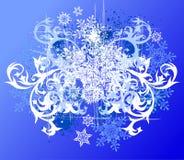 Fundo floral & flocos de neve Imagem de Stock Royalty Free