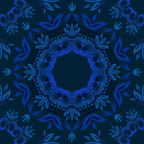 Fundo floral azul abstrato com teste padrão redondo do vetor Imagens de Stock Royalty Free