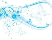 Fundo floral azul com borboletas e flor Imagem de Stock